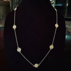 Jewelry - Pave Crystal Discs on Silver Chain Necklace NWOT
